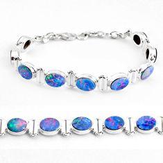 22.54cts natural blue doublet opal australian 925 silver tennis bracelet p48056