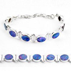 20.43cts natural blue doublet opal australian 925 silver tennis bracelet p48059