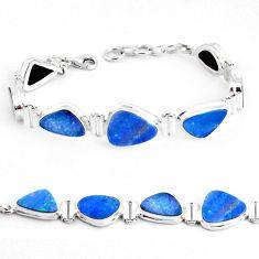 34.85cts natural blue doublet opal australian 925 silver tennis bracelet p48067