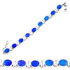 28.89cts natural blue doublet opal australian 925 silver tennis bracelet p64402