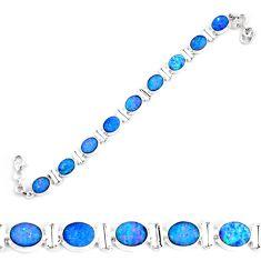 29.22cts natural blue doublet opal australian 925 silver tennis bracelet p64409