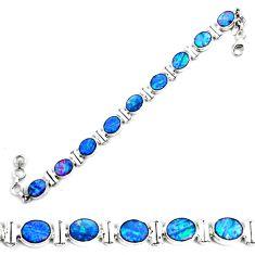 30.05cts natural blue doublet opal australian 925 silver tennis bracelet p64417