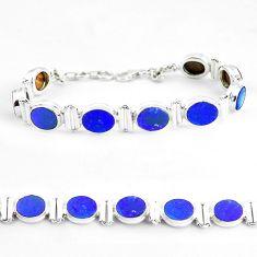 29.54cts natural blue doublet opal australian 925 silver tennis bracelet p65081