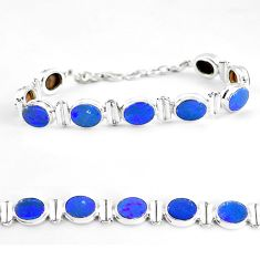 29.20cts natural blue doublet opal australian 925 silver tennis bracelet p65086