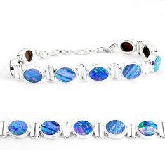 30.05cts natural blue doublet opal australian 925 silver tennis bracelet p65090
