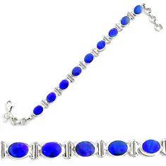 25.42cts natural blue doublet opal australian 925 silver tennis bracelet p70741