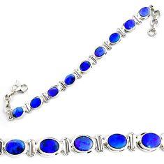 27.23cts natural blue doublet opal australian 925 silver tennis bracelet p70744