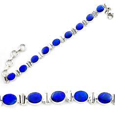 18.74cts natural blue doublet opal australian 925 silver tennis bracelet p72981