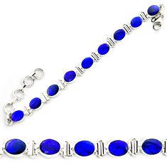 18.83cts natural blue doublet opal australian 925 silver tennis bracelet p72982