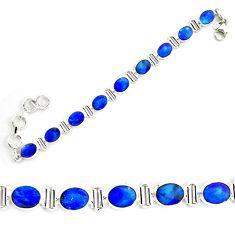 18.83cts natural blue doublet opal australian 925 silver tennis bracelet p72983