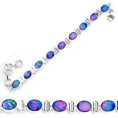 18.58cts natural blue doublet opal australian 925 silver tennis bracelet p72986