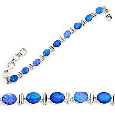 18.83cts natural blue doublet opal australian 925 silver tennis bracelet p72992