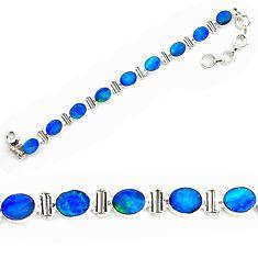 18.56cts natural blue doublet opal australian 925 silver tennis bracelet p72994