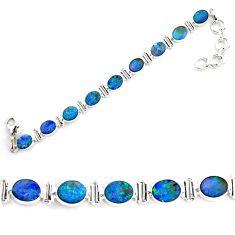19.07cts natural blue doublet opal australian 925 silver tennis bracelet p72995