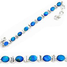 18.56cts natural blue doublet opal australian 925 silver tennis bracelet p72998