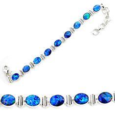 18.83cts natural blue doublet opal australian 925 silver tennis bracelet p72999