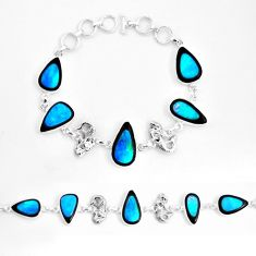 55.27cts natural blue doublet opal in onyx 925 silver tennis bracelet p53841