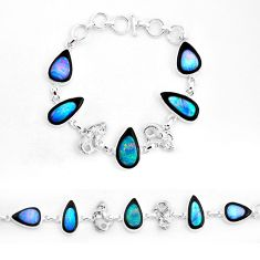 51.17cts natural blue doublet opal in onyx 925 silver tennis bracelet p53843