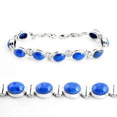 39.91cts natural blue dumortierite 925 sterling silver tennis bracelet p41013