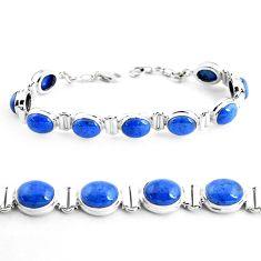 39.48cts natural blue dumortierite 925 sterling silver tennis bracelet p41015