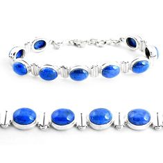41.06cts natural blue dumortierite 925 sterling silver tennis bracelet p41017