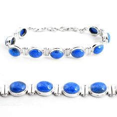 40.36cts natural blue dumortierite 925 sterling silver tennis bracelet p41018
