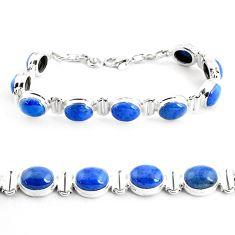 40.34cts natural blue dumortierite 925 sterling silver tennis bracelet p41019