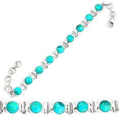 24.75cts natural blue kingman turquoise 925 silver tennis bracelet p34607
