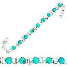 24.77cts natural blue kingman turquoise 925 silver tennis bracelet p34608