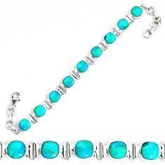 24.75cts natural blue kingman turquoise 925 silver tennis bracelet p34618