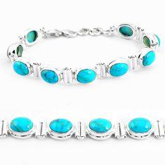 38.27cts natural blue kingman turquoise 925 silver tennis bracelet p64461