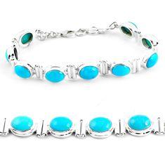 38.66cts natural blue kingman turquoise 925 silver tennis bracelet p64466