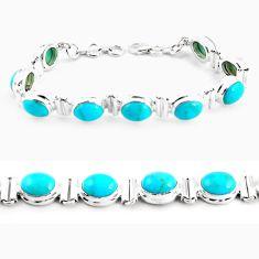 38.29cts natural blue kingman turquoise 925 silver tennis bracelet p64468