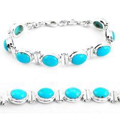 33.26cts natural blue kingman turquoise 925 silver tennis bracelet p64469