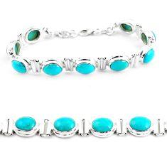 37.24cts natural blue kingman turquoise 925 silver tennis bracelet p64473