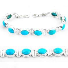 37.84cts natural blue kingman turquoise 925 silver tennis bracelet p64476
