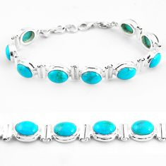37.24cts natural blue kingman turquoise 925 silver tennis bracelet p64477