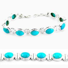 37.24cts natural blue kingman turquoise 925 silver tennis bracelet p64479