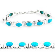 37.21cts natural blue kingman turquoise 925 silver tennis bracelet p64480