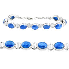 38.93cts natural blue kyanite 925 sterling silver tennis bracelet jewelry p39032