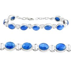 39.27cts natural blue kyanite 925 sterling silver tennis bracelet jewelry p39035