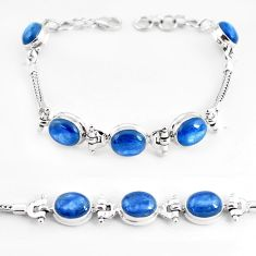 24.39cts natural blue kyanite 925 sterling silver tennis bracelet jewelry p54710