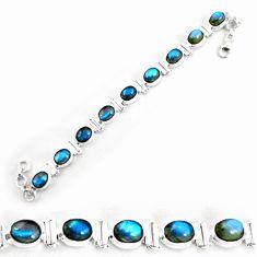30.72cts natural blue labradorite 925 silver tennis bracelet jewelry p65078