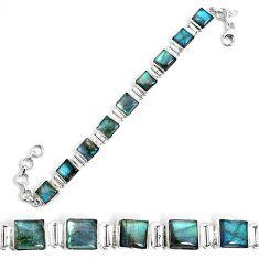 29.90cts natural blue labradorite 925 sterling silver tennis bracelet p34578