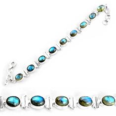 29.54cts natural blue labradorite 925 sterling silver tennis bracelet p65068