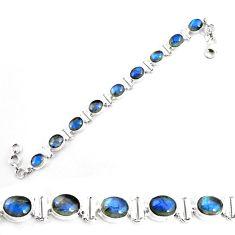 28.89cts natural blue labradorite 925 sterling silver tennis bracelet p65069