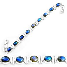 29.54cts natural blue labradorite 925 sterling silver tennis bracelet p65072
