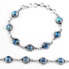 19.23cts natural blue labradorite 925 sterling silver tennis bracelet p65179