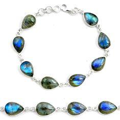 34.42cts natural blue labradorite 925 sterling silver tennis bracelet p72932
