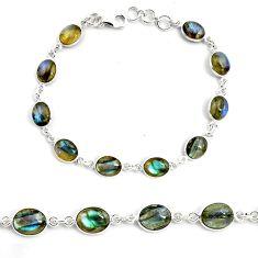 25.14cts natural blue labradorite 925 sterling silver tennis bracelet p72949